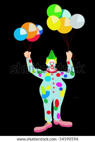 Vector drawing of a circus clown with colored balloons, with blue, red, yellow, green, on black. - stock vector