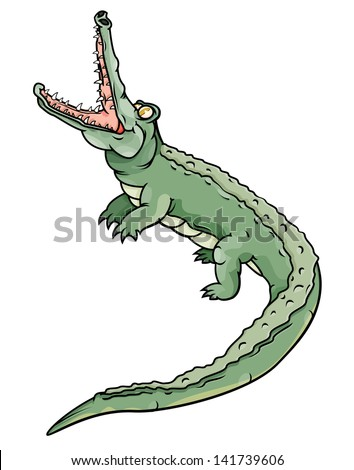 Vector drawing of a crocodile/Open mouthed crocodile/Easy to edit layers, isolated layer, no meshes or gradients used, - stock vector