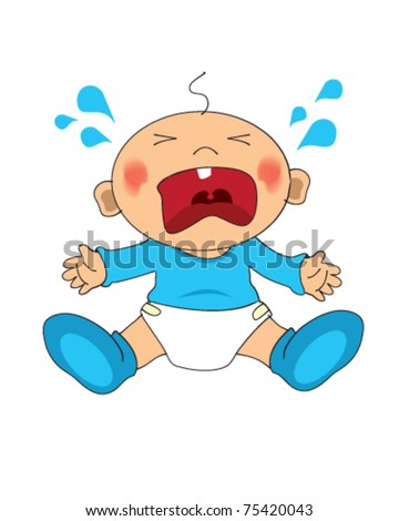 Vector drawing of a crying baby boy - stock vector