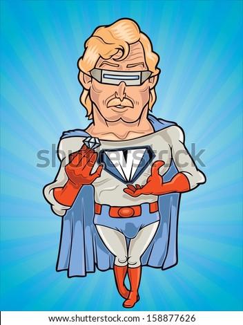 Vector drawing of a diamond superhero - stock vector