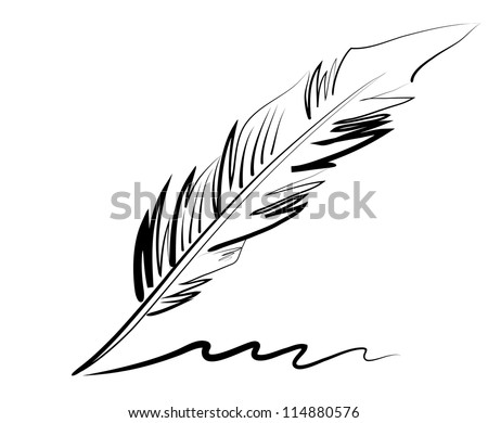 Vector drawing of a goose quill with a curlicue. Hand draw. - stock vector