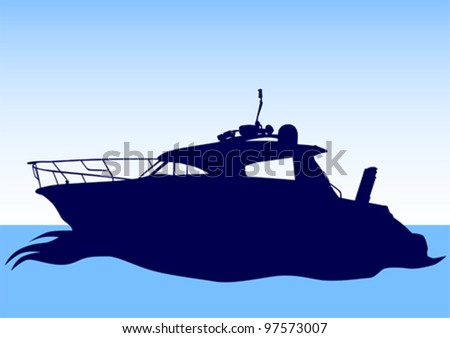 Vector drawing of a large sea boat - stock vector