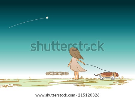 vector drawing of a lonely girl with her dog looking at the shooting star. Make a wish under the star sky. Fantasy dream of fairytale scene. Sparkle star shinning in the sky - stock vector