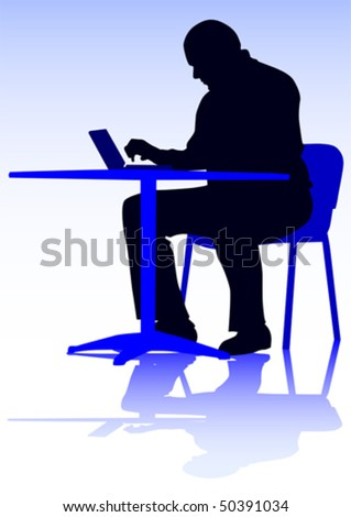 Vector drawing of a man with a personal computer. Silhouette on people - stock vector