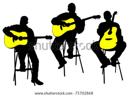 Vector drawing of a man with an acoustic guitar - stock vector