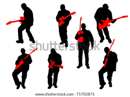 Vector drawing of a man with an electric guitar - stock vector