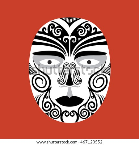 Vector drawing of a mask on a red background. Maori. Mask. Aborigine.