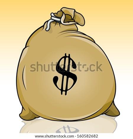 Vector drawing of a money bag/Money Bag/ easy to edit vector drawing easy to edit groups and layers a few gradients and blends used. Great Icon and symbol graphic - stock vector