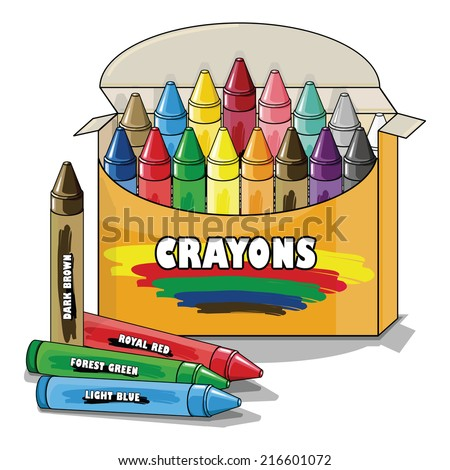 Vector drawing of a pack of Crayons/Crayons/Easy to edit objects and groups, rest of crayons editable and visible inside of box,  - stock vector