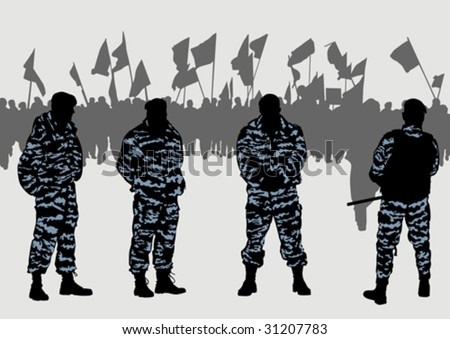 Vector drawing of a police force and demonstrators