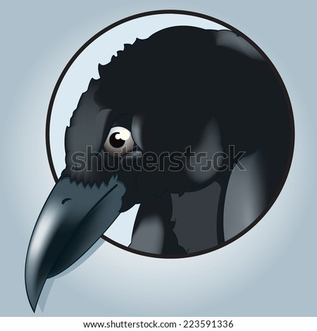Vector drawing of a /Raven head/ easy to edit groups and objects rest of raven available behind mask. Meshes used - stock vector