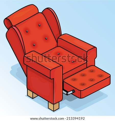 Vector drawing of a Reclining Red Chair/Red Chair/ Easy to edit layers and groups, no weird effects used.
