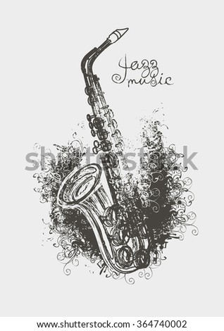 Vector drawing of a saxophone with floral patterns - stock vector