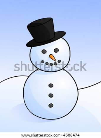 Vector Drawing of a Snowman