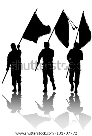 Vector drawing of a soldier with a flag in his hands - stock vector