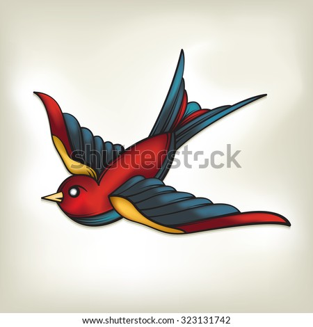 Vector Drawing Of A Sparrow Tattoo Vintage Style Easy To Edit Groups