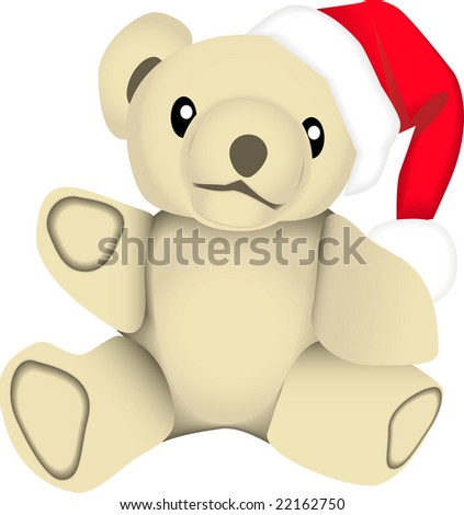 vector drawing of a stuffed bear wearing a santa claus hat. This image is for the christmas holiday season.