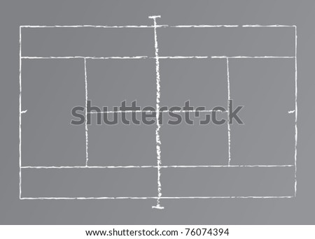 Vector drawing of a tennis court on a chalkboard.