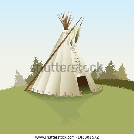 Vector drawing of a Tepee/Tepee/Easy to edit vector file, easy to edit layers and groups. Gradients used - stock vector