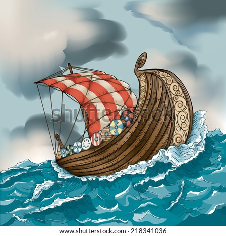Vector drawing of a Viking/Long Ship/ Easy to edit layers and groups EPS 10, meshes used gradients used and a couple of very simple transparencies. Ship is editable behind waves and shields  - stock vector