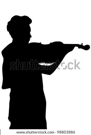 Vector drawing of a woman with a violin on stage
