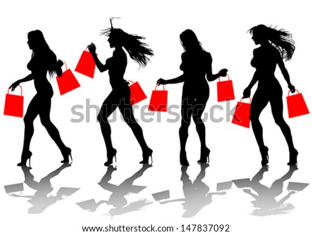 Vector drawing of a young girl with shopping bags. Property release is attached to the file - stock vector