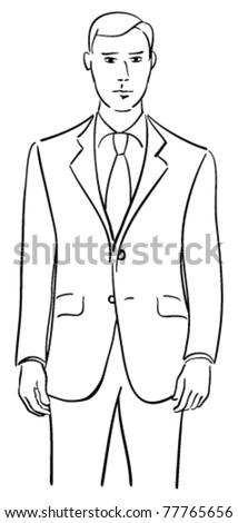 Vector drawing of a young male model wearing a tailored two piece suit.