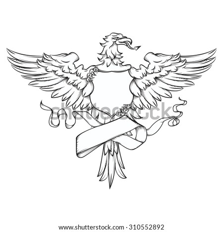 Vector drawing of an / Eagle Crest Line Art / Easy to edit layers and groups, easy to isolate and add text to shield and ribbon element, Easy to add color to editable shapes.  - stock vector