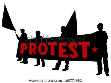 Vector drawing of anarchists with large flags.  - stock vector