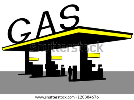 Vector drawing of building a large gas station - stock vector
