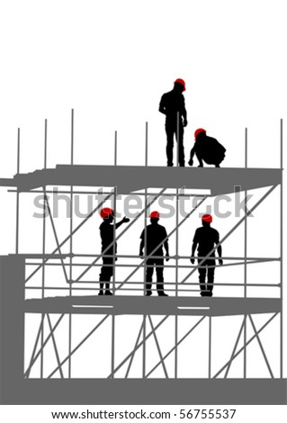 Vector drawing of building structures and worker on dais - stock vector