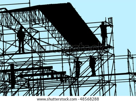 Vector drawing of building structures and working - stock vector