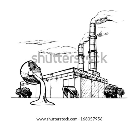 Vector drawing of casting plant stylized as engraving.