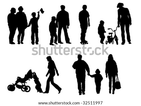 Vector drawing of children from their parents. Isolated silhouettes on white background
