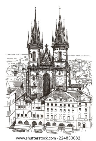 Vector drawing of Church Our Lady before Tyn in Prague, Czech Republic - stock vector