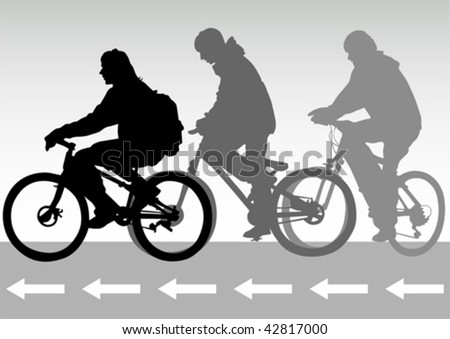 Vector drawing of cyclists on the road