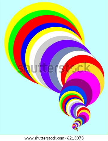 Vector drawing of cyclone shaped cone of multi-colored bands on light blue, with reds, greens, blues and more - stock vector