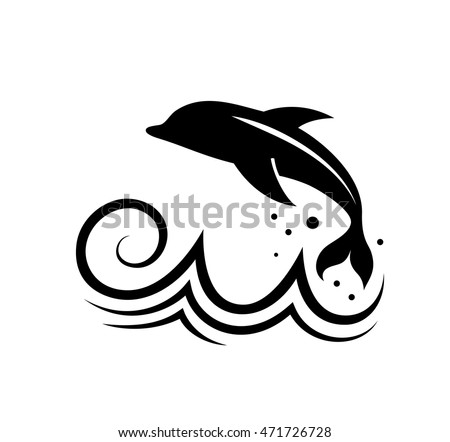 Vector drawing dolphin on wave logo stock vector 471726728 vector drawing of dolphin on wave logo concept for business thecheapjerseys Choice Image