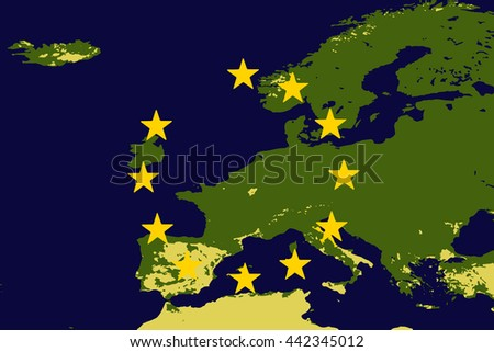 Vector drawing of Europe or EU without the United Kingdom to illustrate the UK leaving the EU also known as Brexit - elements of this image furnished by NASA. - stock vector