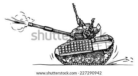 Vector drawing of heavy tank stylized as engraving in comics style - stock vector