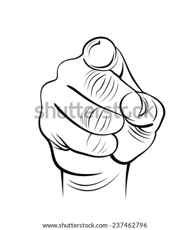 Vector drawing of human hand. Forefinger at viewer. - stock vector