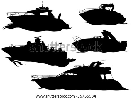 Vector drawing of marine boats. Silhouettes on white background - stock vector