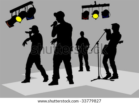 Vector drawing of musicians on stage. Black silhouettes - stock vector