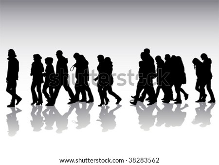 Vector drawing of pedestrians on the street. Silhouettes on white background - stock vector