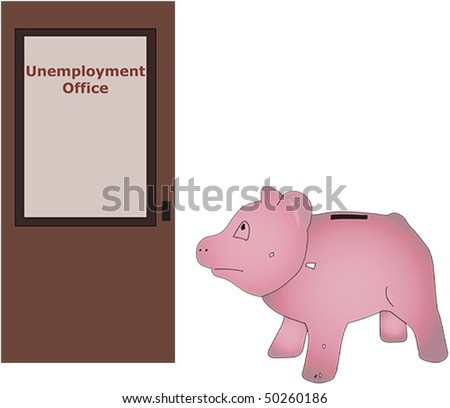 Vector drawing of piggy bank visiting unemployment office - stock vector