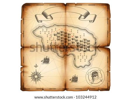 Vector drawing of piracy old map (eps 10) - stock vector