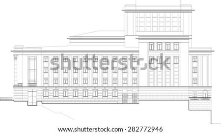 Vector drawing of public building. Elevation. - stock vector