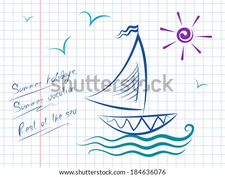 Vector drawing of sailboat on the waves. Sun and gulls. - stock vector