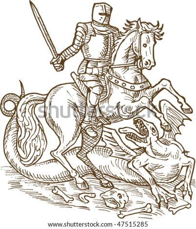vector drawing of Saint George knight and the dragon done in black and white - stock vector