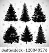 Vector drawing of six black silhouettes spruces against the background of snowflakes. - stock vector